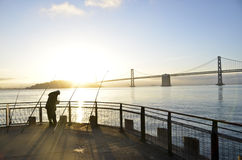 Fishing San Francisco Bay Stock Image
