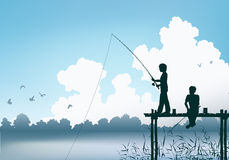 Fishing scene Royalty Free Stock Image