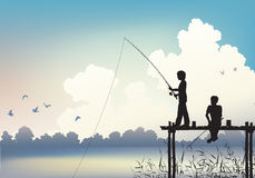 Fishing scene. Editable  scene of two boys fishing from a wooden jetty using gradient mesh Royalty Free Stock Image