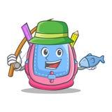 Fishing school bag character cartoon. Vector illustration Royalty Free Stock Images