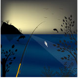 Fishing in the sea. Background dawn. Jumping dolphins. Vector illustration. Fishing in the sea. Background dawn. Jumping dolphins. Vector illustration Stock Images