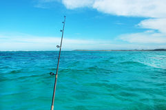Fishing at the sea. Big game fishing reels and rods at the sea stock image