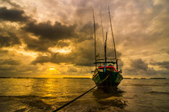 Fishing sea boat and Sunrise Royalty Free Stock Image