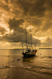 Fishing sea boat and Sunrise Stock Image