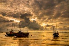 Fishing sea boat and Sunrise Stock Photography
