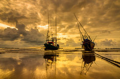 Fishing sea boat and Sunrise Stock Photography