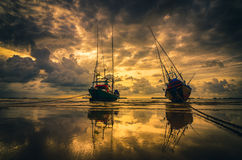 Fishing sea boat and Sunrise Royalty Free Stock Photography
