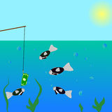 Fishing. In the sea on the dollar stock illustration