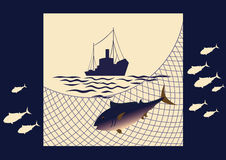 Fishing at sea. Fish tuna, fishing net, silhouette of seiner, waves on a yellow-blue background Royalty Free Stock Images