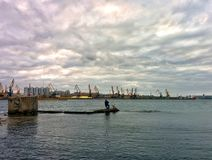 Fishing in sea port Royalty Free Stock Images
