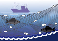 Fishing in the sea. Silhouette of seiner, fishing nets, two fish on a background of the sea Royalty Free Stock Photos