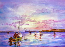 2014 Fishing on the sea in summer. 2014 watercolor, paper Saunders Waterford 300g/m2 original work 36x26 cm Stock Illustration
