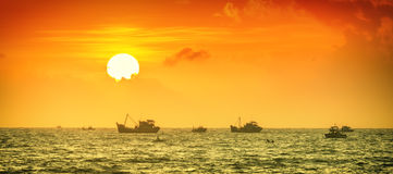 Fishing at sea sunrise Binh Thuan Stock Photography