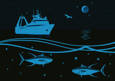 Fishing in the sea. Fishing vessel, fish tuna, sea gull, moon and stars on a background of sea and night sky Royalty Free Stock Photography