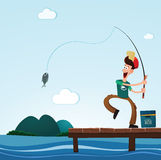 Fishing in the sea Stock Photography