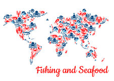 Fishing and seafood fish vector world map. Fishing world map of seafood and fish food. Vector c of lobster and salmon, shrimp or crab and trout and tuna or carp Royalty Free Stock Images