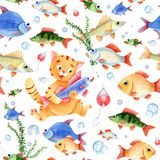 Fishing seamless pattern for children. Cat caracter, fish and bubbles on the white background Stock Image