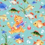 Fishing seamless pattern for children. Cat caracter, fish and bubbles on the blue background Royalty Free Stock Photo