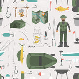 Fishing seamless pattern. Fishing design elements. Vector illustration Stock Photography
