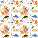 Fishing seamless pattern. For children. Cat caracter, fish and bubbles Stock Photos