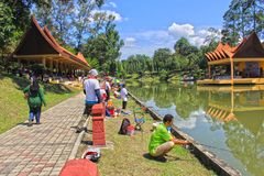 Fishing At Seremban Lake Garden. Taking this picture when competition at Seremban Lake Garden. This garden is made from Quary Tin Minning royalty free stock image