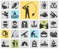 Fishing set black icons. signs and symbols. Fishing. Icons in the background. vector illustration Stock Photo