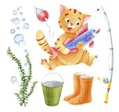 Fishing set with a cat-fisherman cartoon. Fishing set illustration with a cat, float, backet and bubbles Royalty Free Stock Images