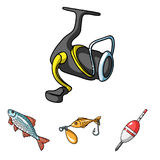 Fishing set collection icons in cartoon style vector symbol stock illustration web. Royalty Free Stock Photography