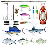 Fishing set with equipment and fish. Illustration Stock Photos