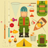 Fishing. Set: Fisherman and Equipment for . Layered file. Vector illustration Stock Image