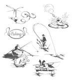 Fishing set. Full illustrated set of fishing Stock Photos