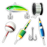 Fishing set with hooks and string. Illustration Royalty Free Stock Photography