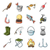 Fishing set icons in cartoon style. Big collection of fishing vector symbol stock illustration Stock Images