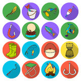 Fishing set icons in flat style. Big collection of fishing vector symbol stock illustration. Fishing set icons in flat design. Big collection of fishing vector Stock Photo
