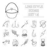 Fishing set icons in outline style. Big collection of fishing vector symbol stock illustration Royalty Free Stock Image