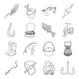 Fishing set icons in outline style. Big collection of fishing vector symbol stock illustration Stock Images