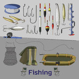 Fishing set icons. Vector illustration, EPS 10 Royalty Free Stock Photography