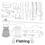 Fishing set icons. Vector illustration, EPS 10 Stock Images