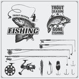 Fishing set. Vintage fishing labels and emblems. Fishing equipment, hooks and lures. Black and white illustration Royalty Free Stock Photography