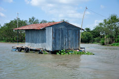 Fishing Shack on the Co Chien River Vietnam Stock Images