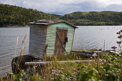 Fishing shack in Coffee Cove. Old fishing shack with sea in background, Coffee Cove, Newfoundland and Labrador, Canada Royalty Free Stock Photography