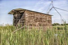 Fishing shack on sea channel Stock Photo