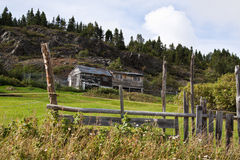 Fishing shacks and countryside. Scenic view of fishing shacks on coastline with green fields and forest, Coffee Cove settlement, Newfoundland and Labrador Stock Photo
