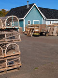 Fishing shacks with Lobster Traps and Copy Room royalty free stock image