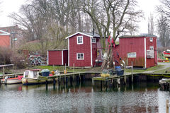 Fishing sheds in Malmo. Malmo, Sweden - March 7, 2015: Fishing sheds during winter months Stock Image