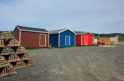 Fishing Sheds in Trout River Stock Image