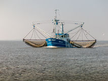 Fishing ship, Holland. Shrimp trawler fishing on Waddensea in the Netherlands Stock Photo
