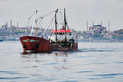Fishing ship in the Marmara Sea in Istanbul Stock Photos