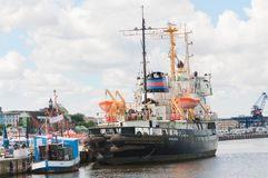 Fishing ship. Rostock, Germany-July 14, 2017: The `Stephan Jantsen`` at dock in Rostock harbor Royalty Free Stock Image