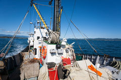 Fishing ship is at sea in the fishing area. Royalty Free Stock Photo